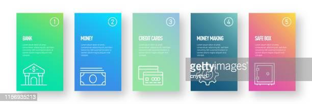 銀行とお金のインフォグラフィックデザイン - モダンカラフルなグラデーションスタイル - 為替相場点のイラスト素材/クリップアート素材/マンガ素材/アイコン素材
