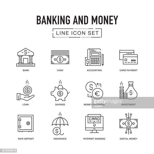 Banque et argent ligne Icon Set