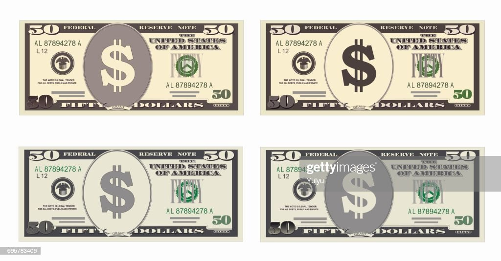 Usa Banking Currency Cash Symbol 50 Dollars Bill Vector Art Getty
