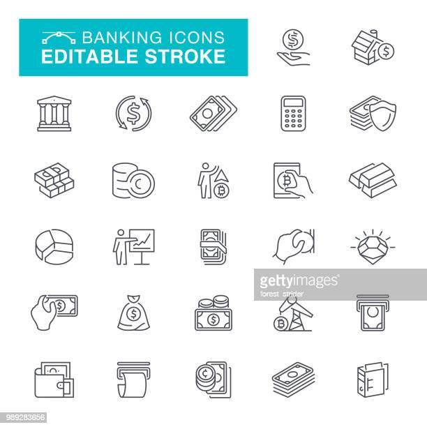 ilustraciones, imágenes clip art, dibujos animados e iconos de stock de iconos de movimiento editables de banca - símbolo monetario