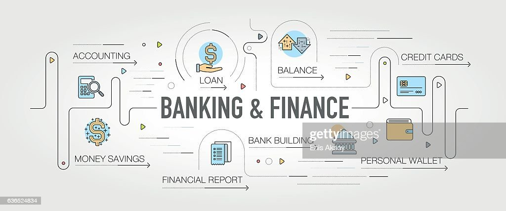 Banking & Finance banner and icons
