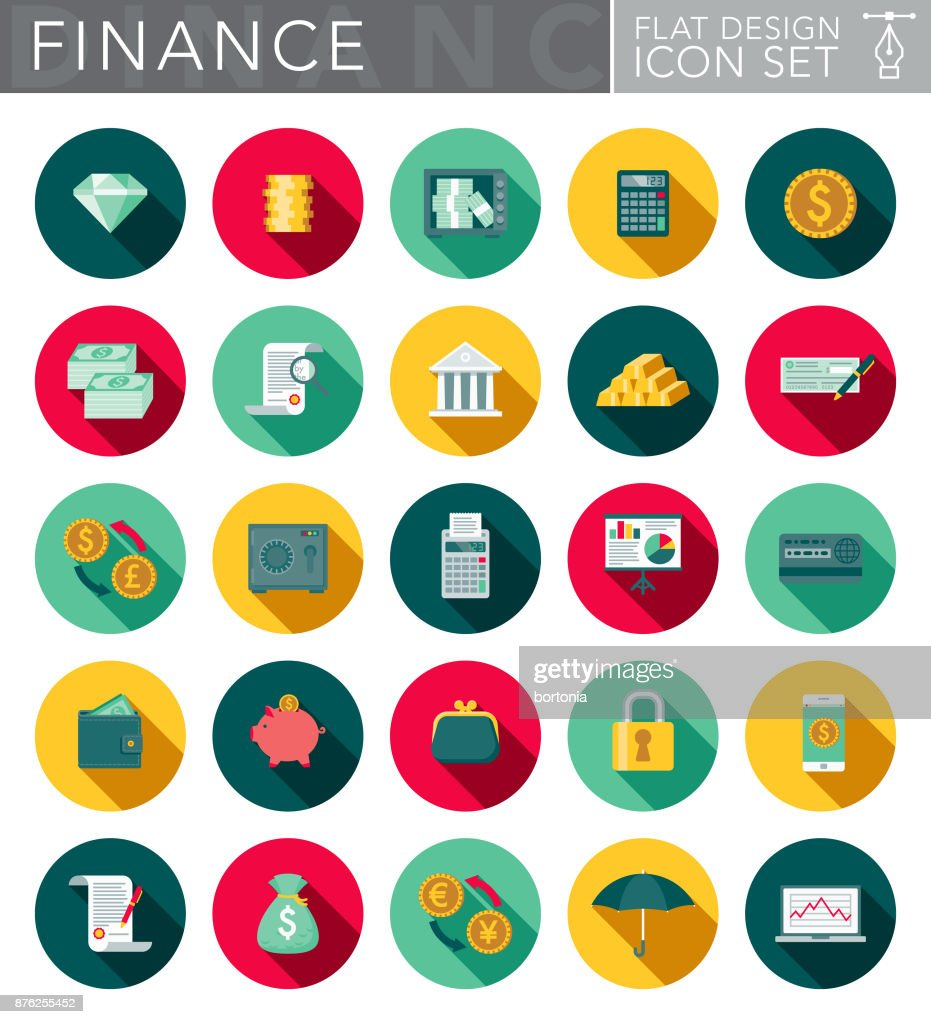 Banking & Finance Flat Design Icon Set with Side Shadow : stock illustration