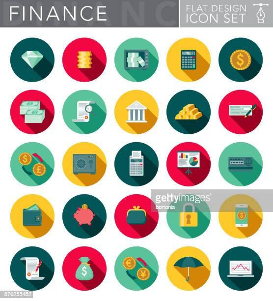 ilustraciones, imágenes clip art, dibujos animados e iconos de stock de banca y finanzas diseño plano conjunto de iconos con sombra lateral - largo longitud