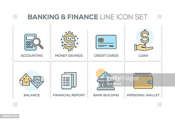 Banking & Finance keywords with line icons