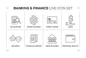 Banking & Finance keywords with monochrome line icons