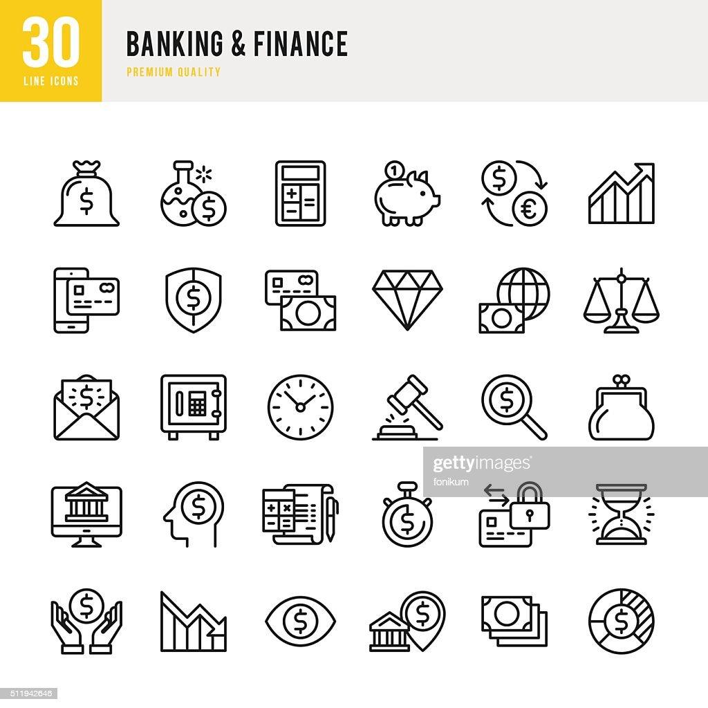 Bancos &  Finanças-fina linha Conjunto de ícones : Ilustração