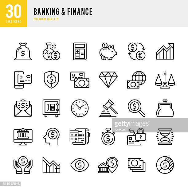 illustrations, cliparts, dessins animés et icônes de services bancaires finance & -fine ligne ensemble de icône - affaires finance et industrie