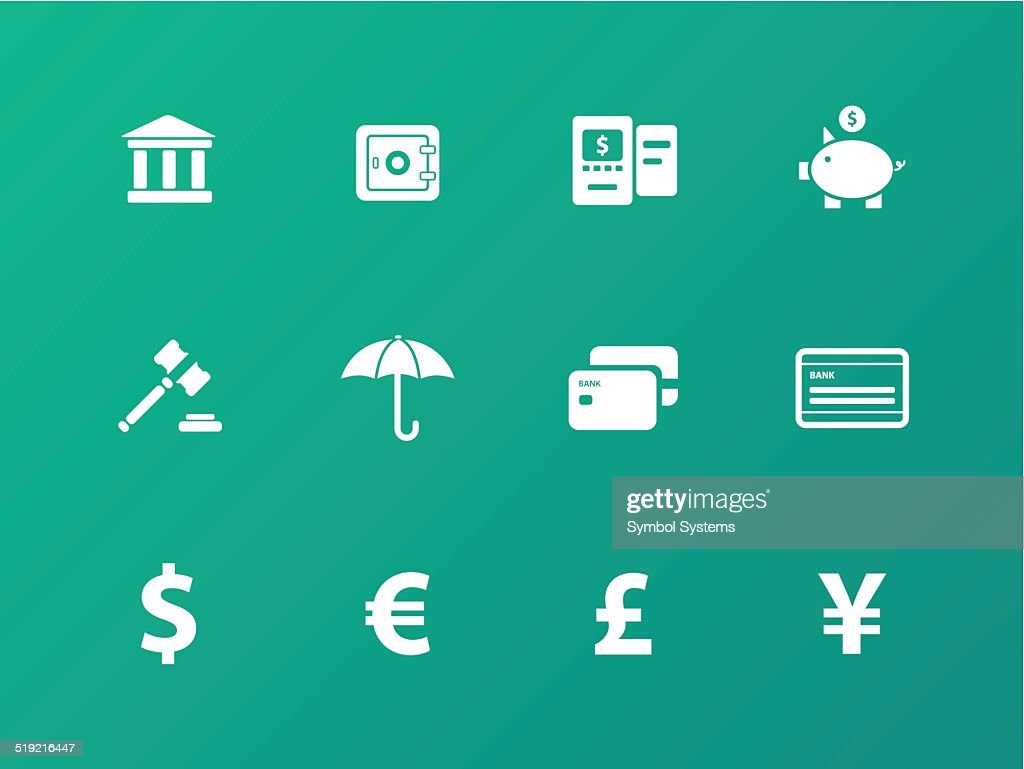 Banking icons on green background.