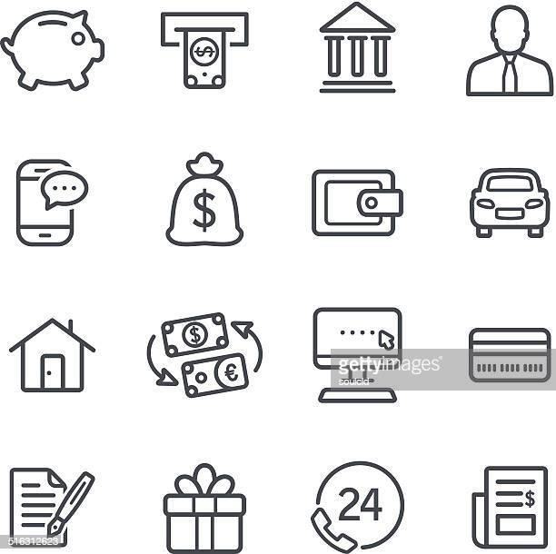 ilustrações, clipart, desenhos animados e ícones de ícones de bancário - bônus