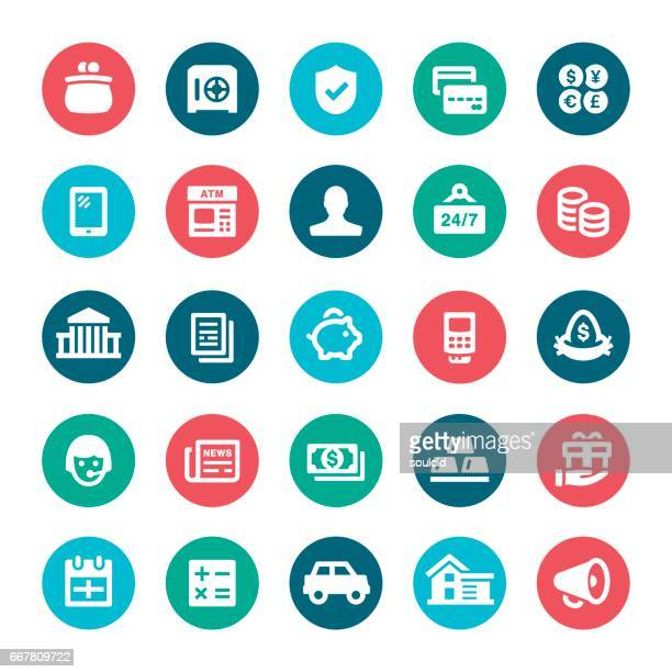 banking icons - finance and economy stock illustrations, clip art, cartoons, & icons