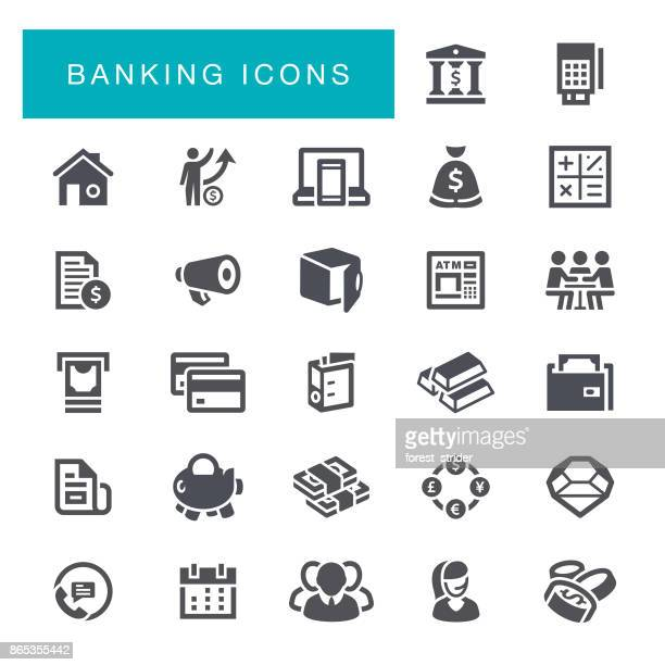 banking icons - accountancy stock illustrations, clip art, cartoons, & icons