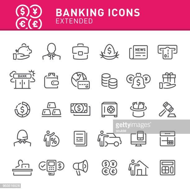 banking icons - fileira stock illustrations