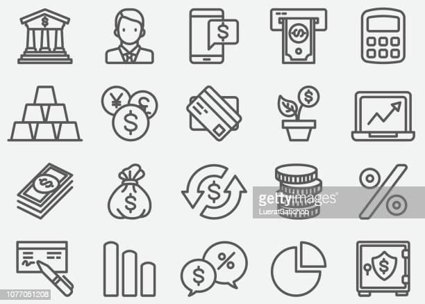banking line icons - bank stock illustrations