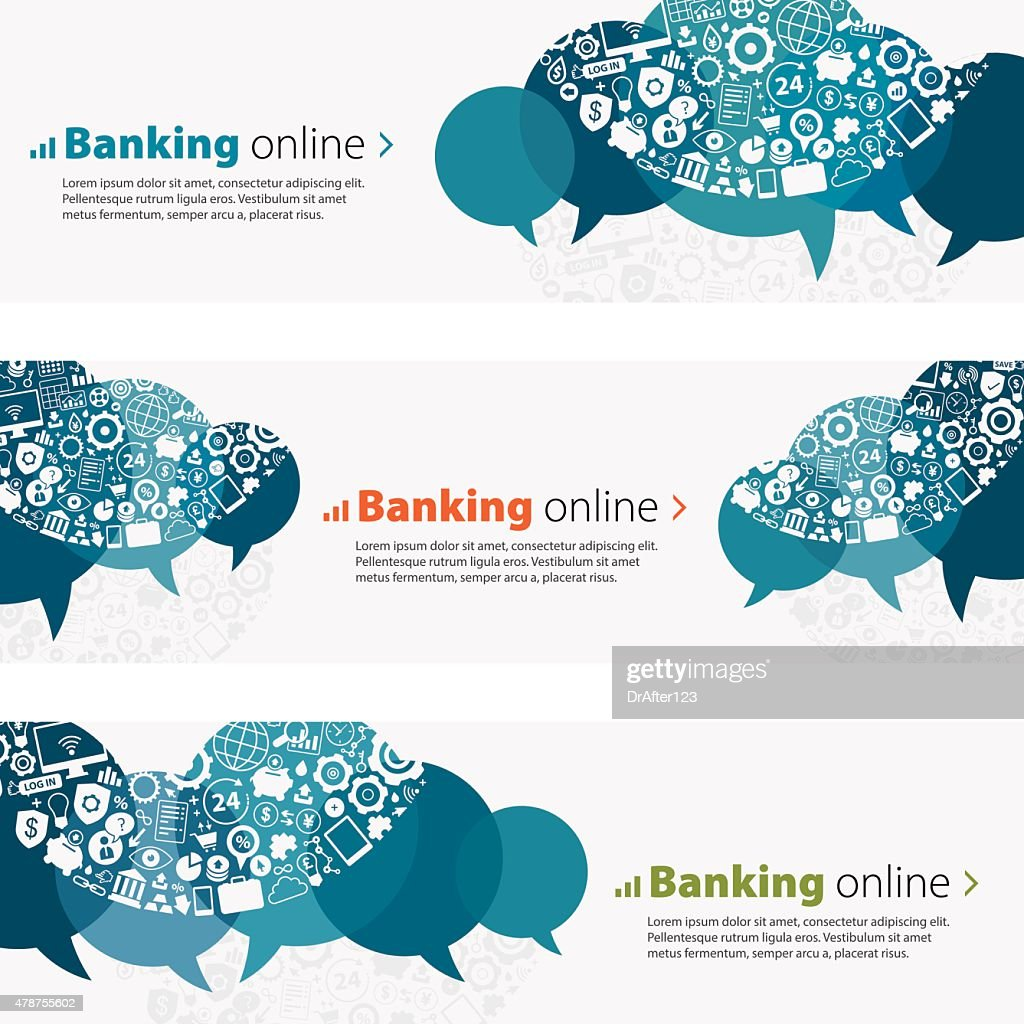 Banking Online Banners And Icon Set