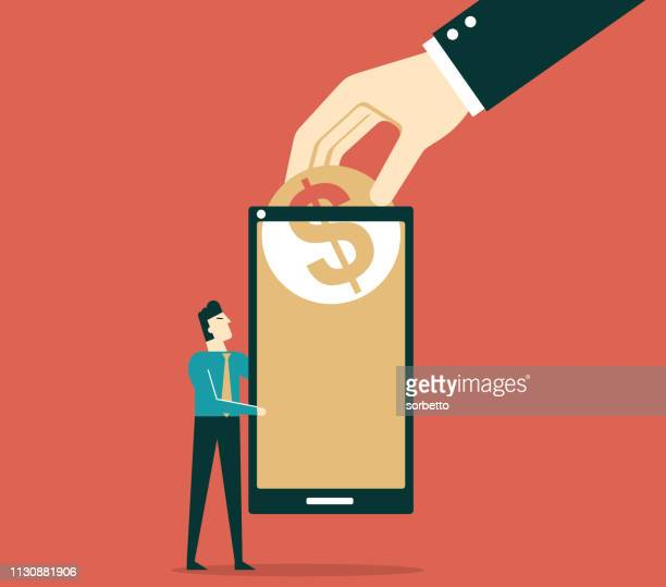 banking payment - businessman - financial technology stock illustrations