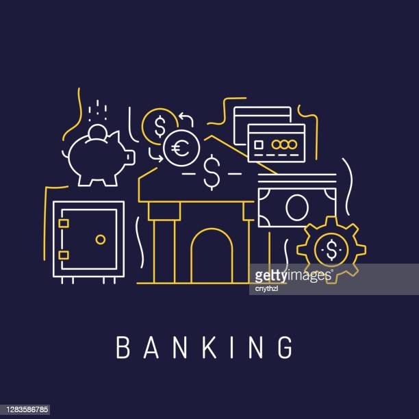 banking related modern line art icons background. linear style vector illustration. - royal blue stock illustrations