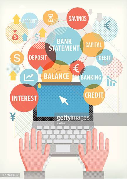 Banking terms on laptop