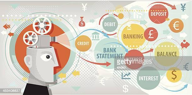 ilustrações, clipart, desenhos animados e ícones de termos bancários de projeção - previsão