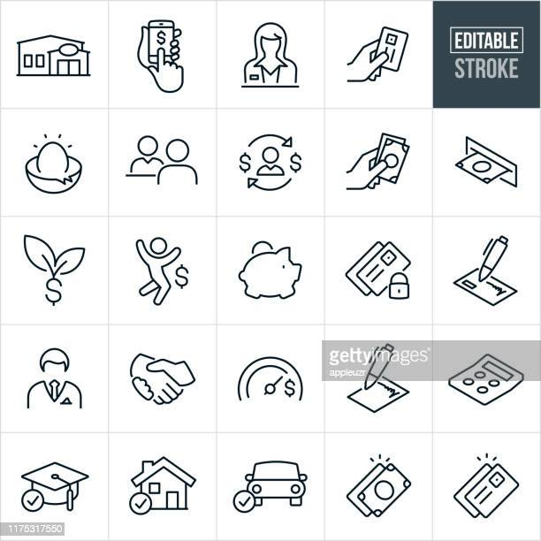 banking thin line icons - editable stroke - mortgage loan stock illustrations