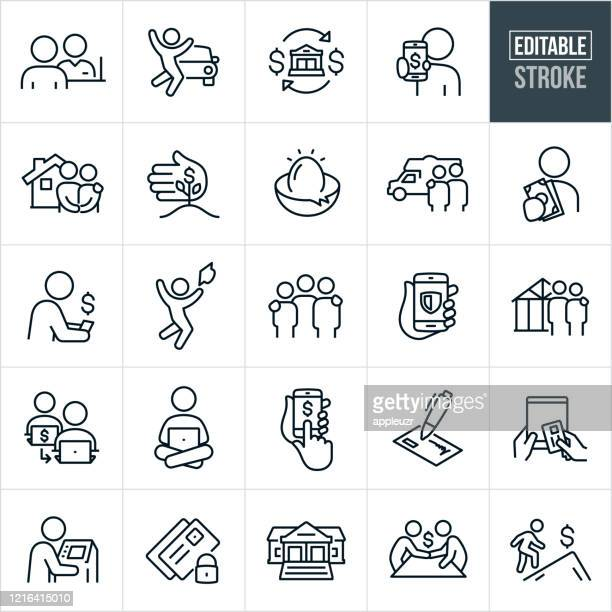 banking thin line icons - editable stroke - borrowing stock illustrations