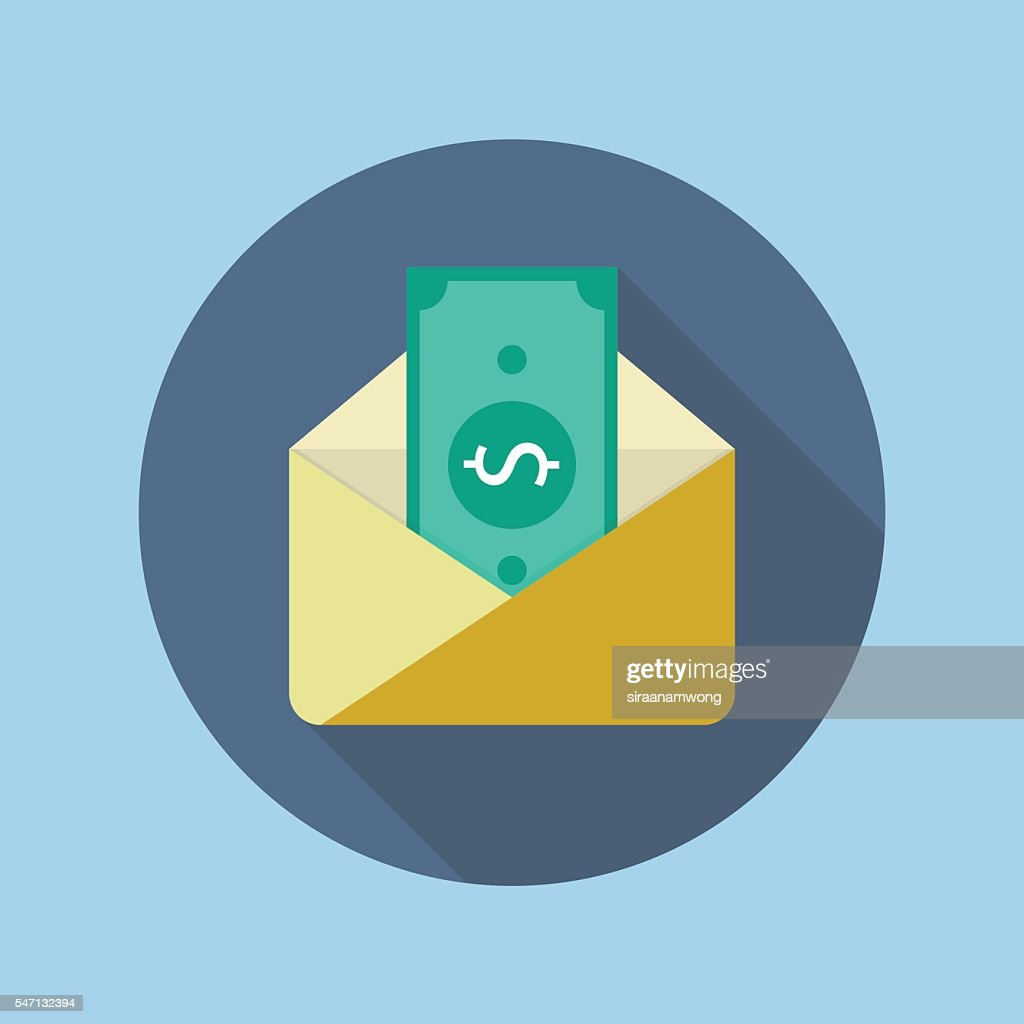Banknote in yellow paper envelope