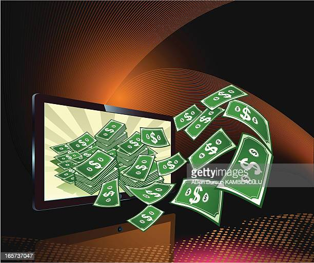 banknote - high definition television television set stock illustrations