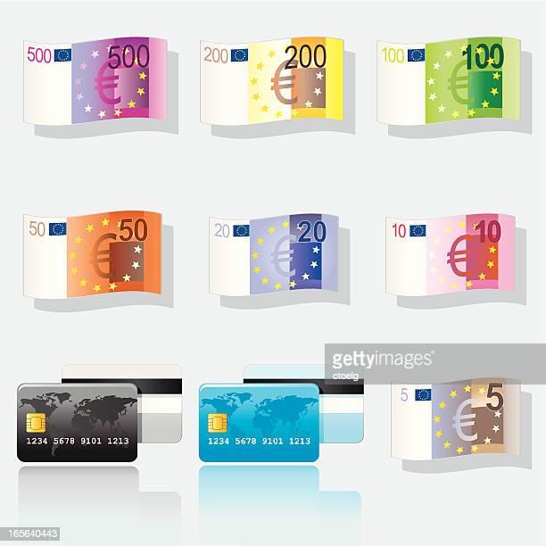 banknoten und kreditkarten - european union euro note stock illustrations, clip art, cartoons, & icons