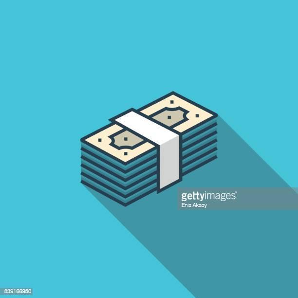 bankroll flat icon - spending money stock illustrations, clip art, cartoons, & icons