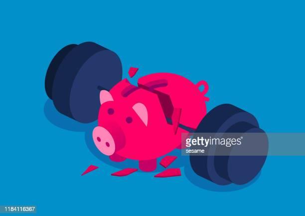 bankrupt, huge dumbbell crushed piggy bank - defeat stock illustrations