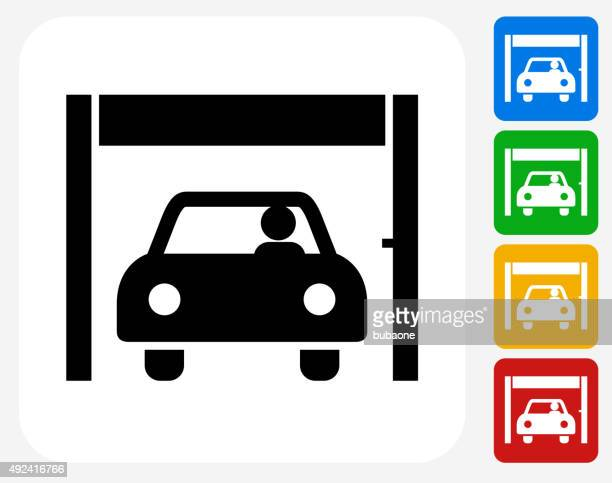 banks' drive-up service icon flat graphic design - drive through stock illustrations