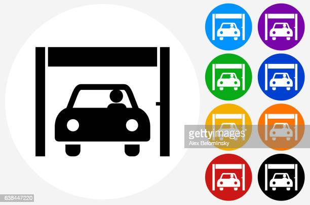 banks' drive-up service icon on flat color circle buttons - drive through stock illustrations