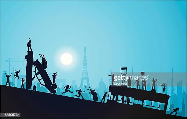 banlieue at night - paris fury stock illustrations