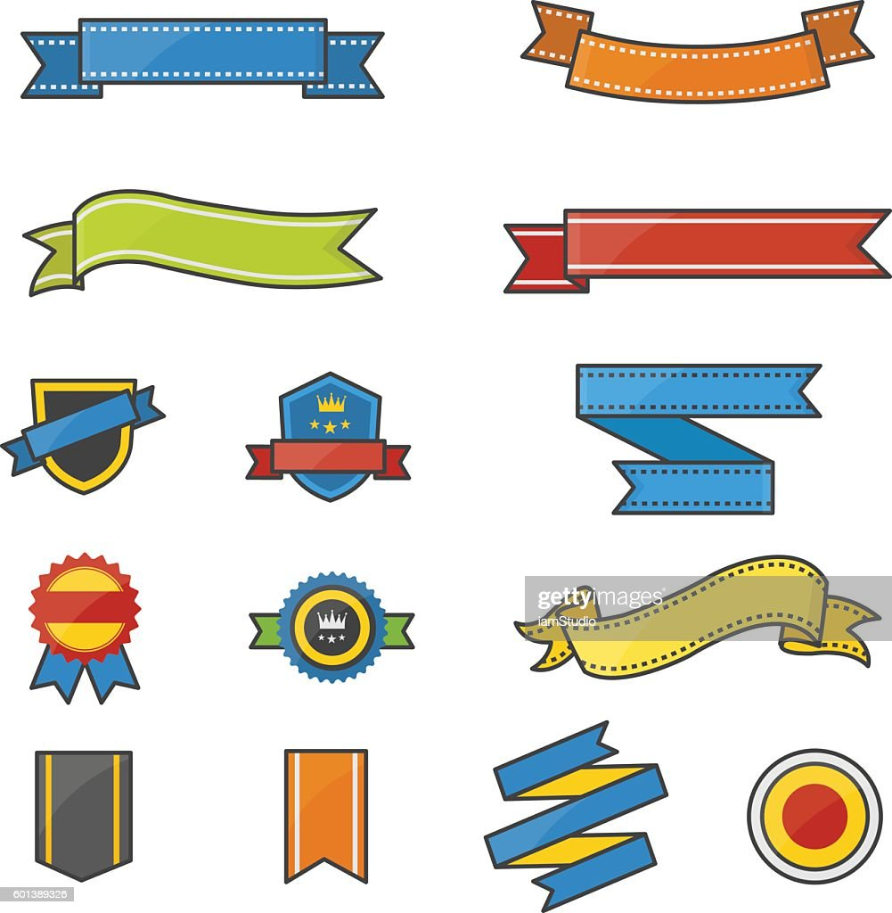 Banner and Ribbon Color Icons Set Of Vector Illustration