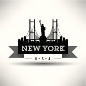 Banner depicting local landmarks of New York City