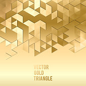 Banner design. Abstract template background with gold triangle shapes