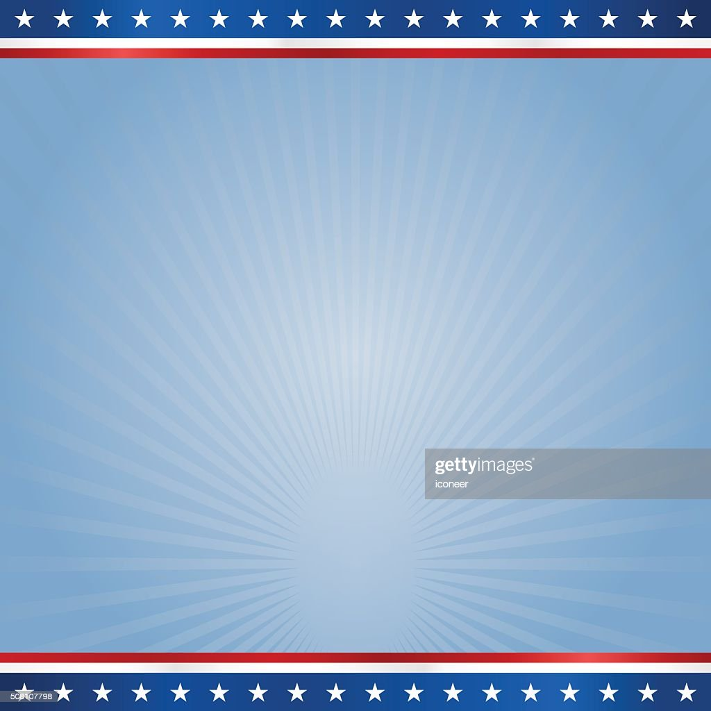 USA banner design template on blue rays square background