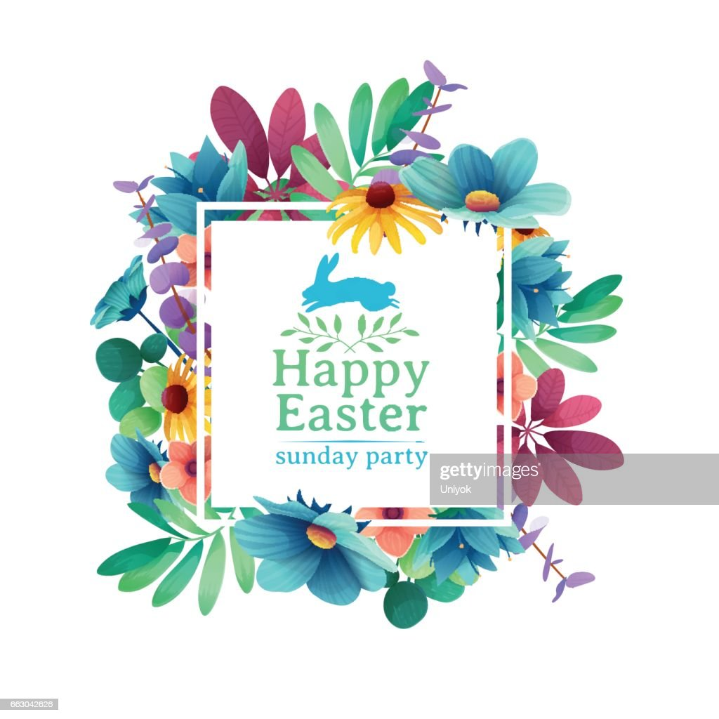 Banner design template with floral decoration for spring Easter. The square frame with the decor of flowers, leaves, twigs. Invitation for easter holiday with symbol and rabbit, flower element. Vector.
