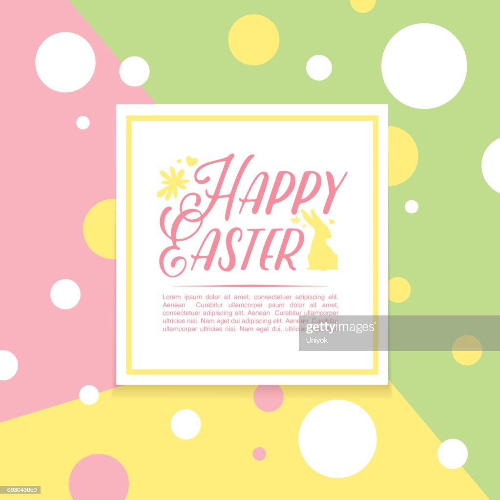 Banner Design Template With Geometric Decoration For Spring Easter