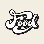 Banner Design with lettering Food. Vector illustration.