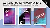 Banner, DJ Poster, Night Club Flyer, Card Kit with Elements. Set of Vector Templates with Text Grid. Trendy Geometric Patterns, Minimal Design, Colorful Backgrounds.