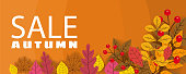 Banner for Autumn Sale, background with falling leaves, yellow, orange, brown, fall, lettering, template for poster, banner, vector, isolated