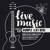 banner for concert of live music with guitar