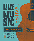 banner for live music festival with guitar