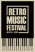 banner for retro music festival with piano keys