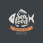 banner for seafood shop with decorative fish