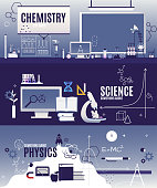 Banner horizontal vector flat courses in physics, chemistry, scientific biology. Slate, chemical formula, voltmeter, lamp, rocket, core, molecule and other elements in the vector