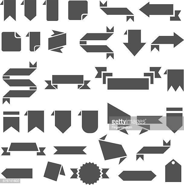 banner icon set - embellishment stock illustrations