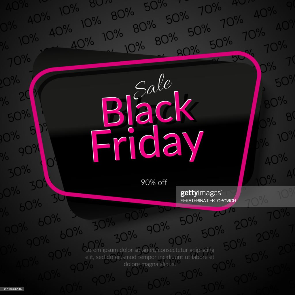 Banner In Frame Sale Black Friday 90 Off Black Background With Discounts Template Black Friday Vector High Res Vector Graphic Getty Images