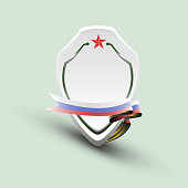 Banner in the form of a shield, with a ribbon in the color of the flag of Russia - vector eps10