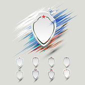 A banner in the shape of a shield with an abstract background (smear), in the colors of the Russian flag-vector eps10